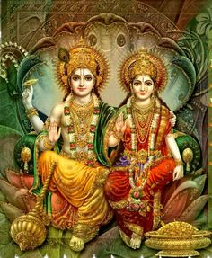 A beautiful image of Lord Vishnu and Lakshmi