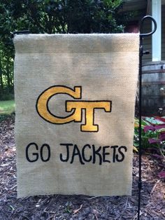Georgia Tech Jackets, GT, Painted Burlap Garden Sign on Etsy, $25.00