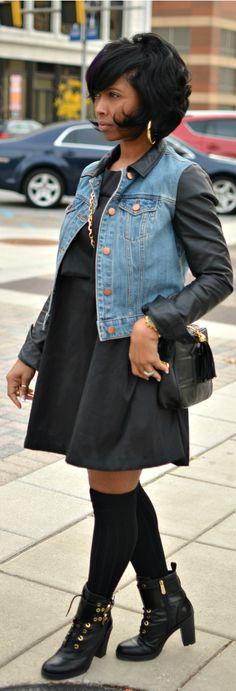 Sweenee Style -Fall 2014- Knee Socks - Black Dress - Denim Jacket