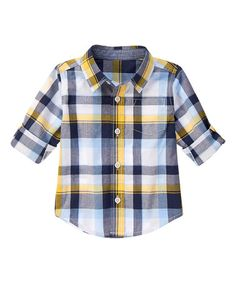 Another great find on #zulily! Yellow & Navy Plaid Poplin Button-Up - Infant, Toddler & Boys #zulilyfinds