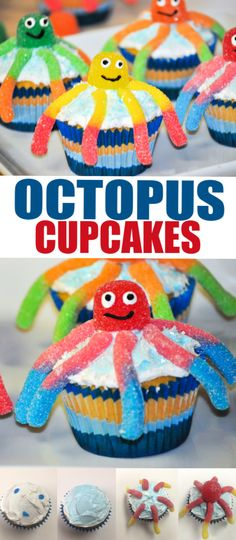These Gummy Worm Octopus Cupcakes are sure to make a splash at any summer picnic, Under the Sea Birthday, or Octonauts Birthday! Grandma Birthday Cakes, Kids Birthday Cupcakes, Birthday Party Desserts, Kid Cupcakes, 3rd Birthday Cakes, Yummy Cupcakes, Third Birthday, Birthday Ideas, Easy Desserts For Kids