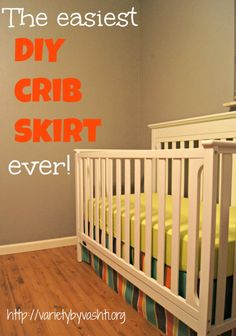 The Easiest DIY Crib Skirt, EVER! Variety by Vashti.This is a great way to get a custom look, no sew! Baby Boy Nurseries, Baby Cribs, Crib Skirt Tutorial, Diy Crib, My Bebe, Baby Sewing Projects, Diy Projects, Nursery Inspiration, Nursery Ideas