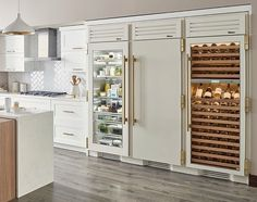 """Never running out of refrigeration space in this setup. 30"""" column refrigerator, 30"""" column freezer and a 30"""" dual zone wine column. Designed in antique white and brass hardware. Beautiful… #nomorestainlesssteel . Inspired By: @trueresidential #trueresidential #truerefrigerator #refrigerator #kitchenappliances #appliances #winechiller #coloredappliances See Through Refrigerator, Glass Door Refrigerator, Refrigerator Freezer, Refrigerator Storage, All White Kitchen, Diy Kitchen, Kitchen Interior, Kitchen Decor, Kitchen Design"""