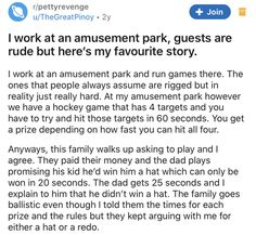 Amusement Park games are not a great place to get stubborn. This dad didn't want to give in, and learned his lesson the hard way. #dad #amusementpark #game #petty #story