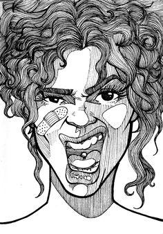 Sketchbook project 2012 on the behance network drawing desenhos de rostos, Sketchbook Project, Arte Sketchbook, Doodle Drawings, Art Drawings Sketches, Images Esthétiques, Pen Art, Portrait Illustration, Portrait Art, Portraits