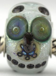 SNOWY OWLS Hedwig Harry Potter inspired fits Pandora and Trollbeads bracelets artisan murano glass charm bead. Cored with sterling silver. Made by glass artist Mandy Ramsdell.