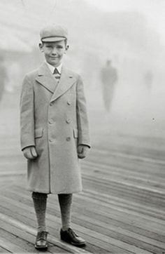 +~+~ Vintage Photograph ~+~+    Young boy with snazzy taste in dressing.  Atlantic City, NJ boardwalk circa 1938.