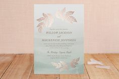 """""""Golden Forage"""" - Rustic, Modern Foil-pressed Wedding Invitations in Sage by Wildfield Paper Co.."""