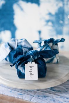 Shibori Wrapped Wedding Favors for a Blue Wedding