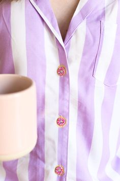 DIY Donut Button Pajamas (+ Our New Weekend Morning Routine!) | studiodiy.com