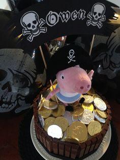 George, Peppa Pig birthday cake, plush George pirate Peppa Pig Birthday Cake, Pirate Birthday, Pirate Party, 3rd Birthday, Birthday Ideas, Pig Party, Baby Party, George Pig, First Birthdays