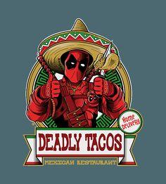 Shop DEADLY TACOS deadpool t-shirts designed by FernandoSala as well as other deadpool merchandise at TeePublic. Deadpool Love, Deadpool Funny, Deadpool Stuff, Deadpool Art, Univers Marvel, Movie T Shirts, Funny Tee Shirts, Spiderman, Batman