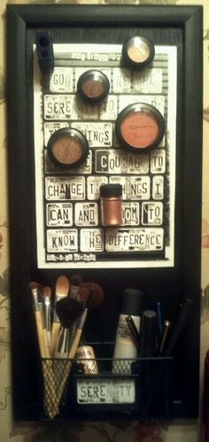 Magnetic wall hanging for makeup...very clever way to make extra space in the cuddy