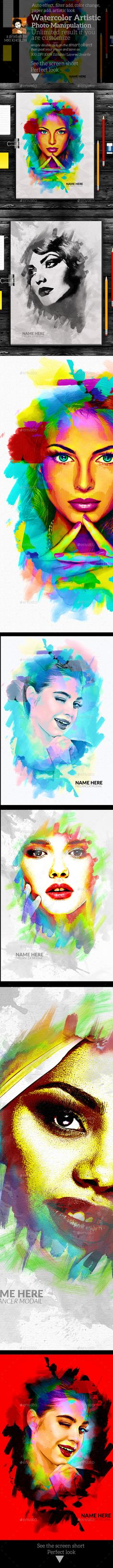 Watercolor Artistic Photo Manipulation — Photoshop PSD #effect #photo template • Download ➝ https://graphicriver.net/item/watercolor-artistic-photo-manipulation/19119842?ref=pxcr