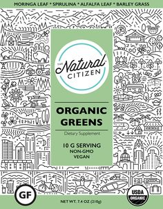 The Natural Citizen specialise in organic, non-gmo, vegan, whole food smoothie boosters. We used their carefully selected list of natural ingredients as inspiration for each variant. We included various locations and landscapes to create a patterned illus…