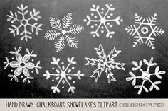Check out Hand Drawn Chalky Snowflake Clipart by Colors on Paper on Creative Market https://creativemarket.com #handlettering