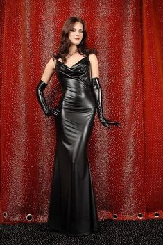 Black Latex Dress and Black Latex Gloves - a sight to be seen and worshipped Satin Dresses, Sexy Dresses, Evening Dresses, Gowns, Mode Latex, Hobble Skirt, Latex Dress, Sexy Latex, Latex Girls