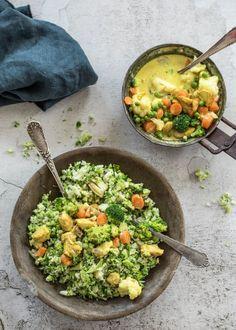 Zet je graag snel lekker eten op tafel? Dan hebben we het ideale gerecht voor jou in petto: broccolirijst met een romig kerriesausje, bloemkoolroosjes, wortel, doperwten en gebakken kip. Lekker vullend en ongetwijfeld een blijvertje! Laat het smaken. Healthy Recepies, Healthy Meals For Kids, Easy Healthy Recipes, Veggie Recipes, Healthy Cooking, Vegetarian Recipes, Healthy Eating, Cooking Recipes, Dinner Recipes