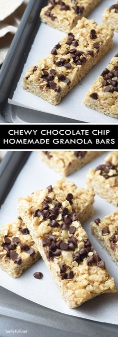 These homemade Chewy Chocolate Chip Granola Bars are super fast and easy to make, without preservatives or high fructose corn syrup. They're sweet, soft and chewy, with a slight crunch, and unbelievably delicious!