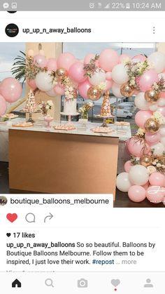 Pink, gold, white balloons