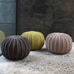 Ursula Cable Knit Pouffes - Graham and Greene - I need one of these in my life ;) think I will try and knit one.
