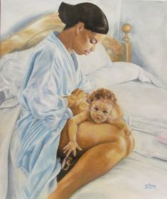 "Mother and Baby ""Mother's Comfort"" Oil Painting by Sabrina Tillman McGowens"