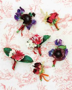47 Boutonnieres You Both Will Love | Martha Stewart Weddings - At this Santa Barbara wedding, Moon Canyon made mismatching boutonnieres of ranunculus, speckled garden roses, and sweet peas.