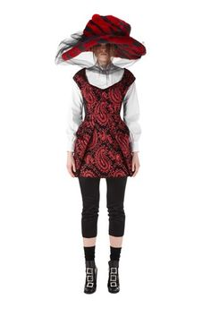 These hats are out of control!   Edgy and romantic mini dress with angled open neckline, nipped waist, and back-tucked skirt. All over red metallic paisley print. with a tiered satin panel back.