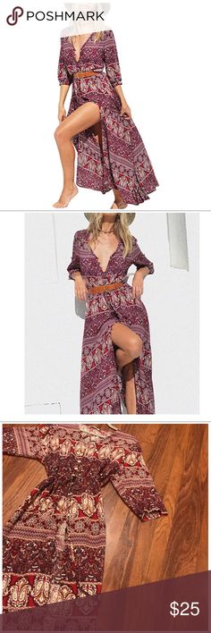 Burgundy Floral Button Up Front Slit Maxi Dress Beautiful Boho Dress With Slit, Buttons up , meant to be looser fitting. This size is a 2xl which is equivalent to a 10-12 . Lightweight and comfortable . Wore once   Cotton/Polyester/Rayon Half Sleeve, V Neck, Tie Waist, Floral Print Dresses Maxi