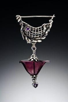 Haley Winter: 'Fibula' Hollow lampworked glass, argentium sterling silver, amethyst.