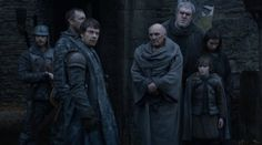 S2E6 Screenshot. Dagmer Cleftjaw, Theon Greyjoy, Maester Luwin, Hodor, Osha, and Rickon Stark.