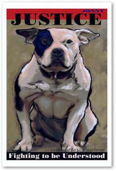 12x18 Poster Pit bull Dog Art limited Jonny Justice former Vick Dog Signed