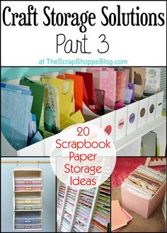 Sewing Fabric Storage 20 Scrapbook Paper Storage Solutions - Part 3 of Craft Storage Solutions Series Scrapbook Paper Storage, Scrapbooking Diy, Craft Paper Storage, Scrapbook Organization, Craft Organization, Scrapbook Rooms, Organizing Ideas, Paper Craft, Diy Scrapbook