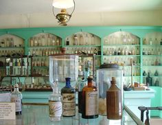 colorful built-ins, apothecary style