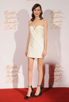 Alexa Chung in Stella McCartney, Burberry shoes - 2013 British Fashion Awards in London.  (December 2013)