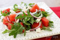 Watermelon, arugula and feta salad.  This looks so good and refreshing.