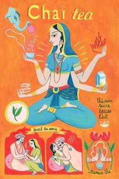 By Anne Laval, 2010, Postcard: Chaï tea.