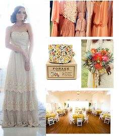 Bohemian Wedding neutral tan bridesmaids bright flowers pink mustard orange coral