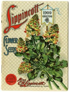 """The 1909 Lippincott catalog was the first year the catalog departed from its previous 5 inch by 7 inch format.  Carrie Lippincott, the self-proclaimed """"pioneer seedswoman"""" and """"first woman in the flower seed industry"""" established her mail-order flower seed business in Minneapolis in 1891."""