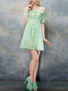 Shop Mini Dresses - Sweet Spaghetti Square Neck Cotton-blend Stripes Mini Dress online. Discover unique designers fashion at StyleWe.com.