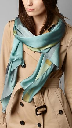 Burberry Pale Canvas Blue Check Silk Satin Scarf - Elegant silk satin scarf in check. Discover the scarves collection at Burberry.com