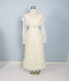 This could be perfect?! La Llorona costume... // Vintage 1970's Creme Victorian Lace Wedding Dress /// Long Gunne Sax Style. $68.00, via Etsy.