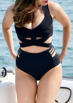 Two Piece Criss Cross Front Black Swimwear | modlily.com