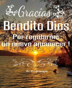 Te toy las gracias Bendito Dios por regalarme un nuevo despertar, gracias por mi salud, y la de mi familia.