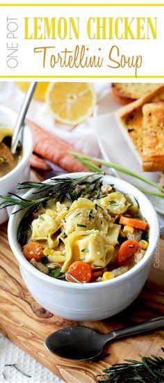 30 Minute One Pot Lemon Chicken Tortellini Soup