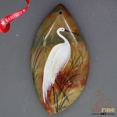Fashion Pendant Hand Painted Crane Natural Gemstone   ZL806107 #ZL #Pendant