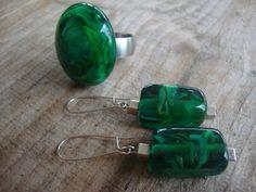 rvs ring met groene, verwisselbare glastop, met bijpassende oorbellen, 925 Sterling zilver