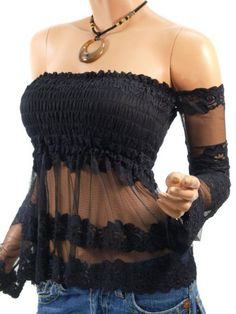Patty Women Sexy Floral Lace Smocked Off Shoulders Hippie Top