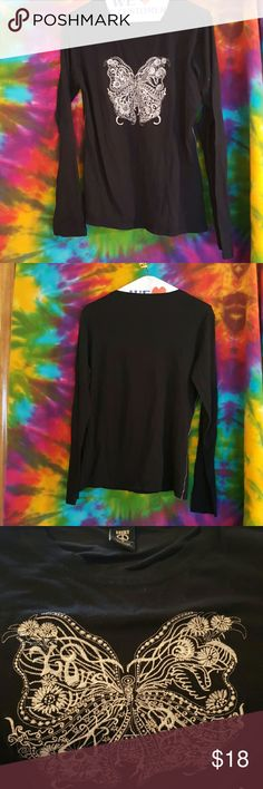 Lucky Brand Butterfly  Black L/S T-Shirt Lucky Brand Butterfly Black L/S T-Shirt Lucky Brand Tops Tees - Long Sleeve