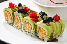 Avocado slices and sushi..heavenly!